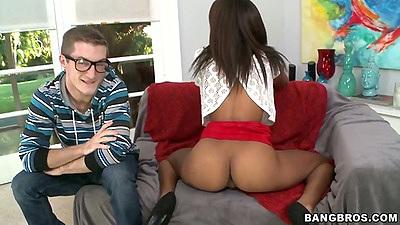 Nice as latina Staci Ellis showing round booty and sucks dick