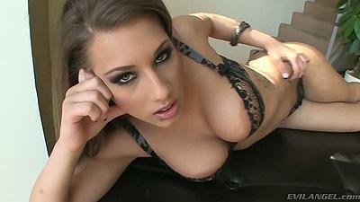 Babe Natasha Vega posing in her bras and panties with pov suck