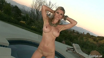 Babe Heather Vandeven naked outdoor solo and sucking dildo