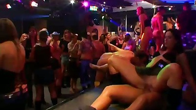 Cowgirl stage sex at club during orgy