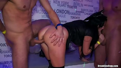 Standing doggy style sex with blowjob at club