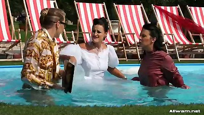 Wet bride Vivien gets wet and naked