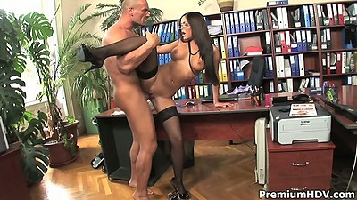 Standing fuck with busty Angelica Heart in library