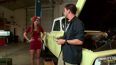 Latina Melanie Rios in the garage
