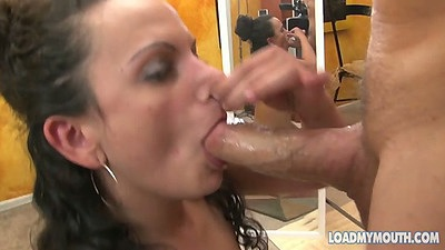 Blowjob and deep throat from Janine on her knees