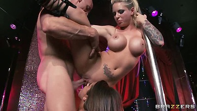 Standing fuck with stripper sluts Christy Mack and Madison Ivy