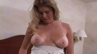 Natural tits tanline Bree blowjob on her knees and titty fuck