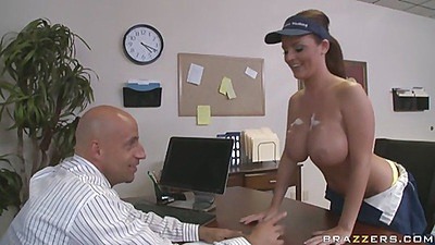 Sophie Dee gets her tits lathered up with soapy water