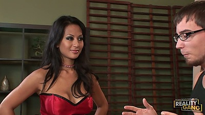 Nice good licking girl pornstar Gianna Lynn in lingerie going down to suck
