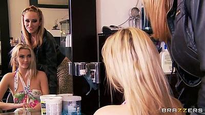 Lesbian Sophia Knight and Brett Rossi hair salon lesbian sluts