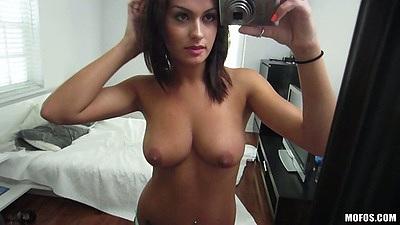 Self shot latina Nadia Capri posing topless in front of mirror