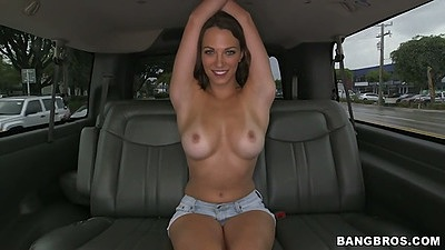 Lily Love posing topless in the back of bangbus touching her pussy