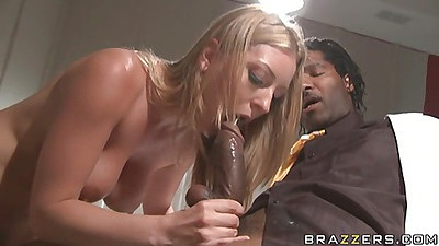 blone slut works that large cock between her legs