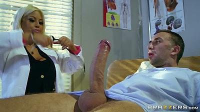 Big dick latina doctor Bridgette B jerking and sucking patiens cock