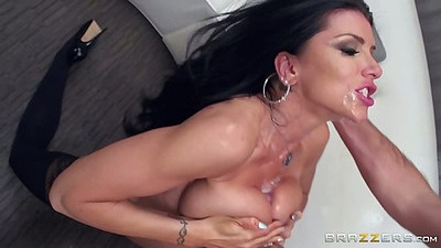 Titty fuck with cum on face with close up whore pussy entry Romi Rain