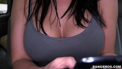 Big tits Isabella Madison flashing upskirts in the back of of bangbus