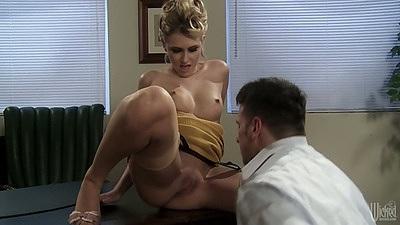 Medium tits blonde Katie Summers gets used on desk