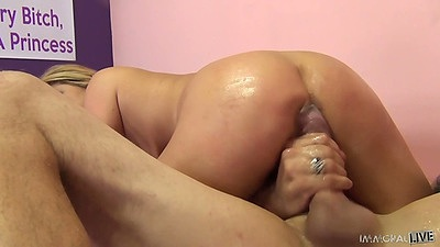 Cowgirl and deep throat with sucking balls asian