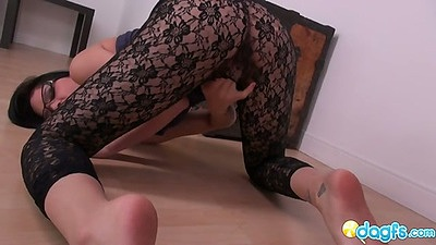 Pantyhose with hole over pussy on asian Kami solo masturbation