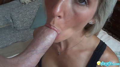 Pov milf girl blowjob with nice moistening of the penis head