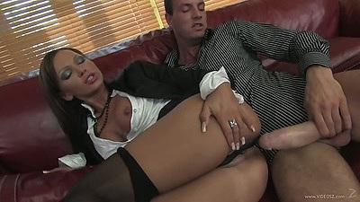 Christine Roberts takes a large cock sideways half dressed