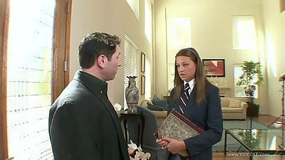 18 year old private school girl student Carmen Mccarthy comes in in uniform