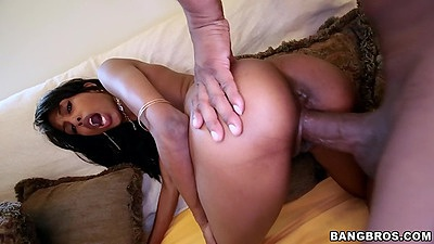 Doggy style black fuck from Adriana Malao and a large dick inside her petite vagina