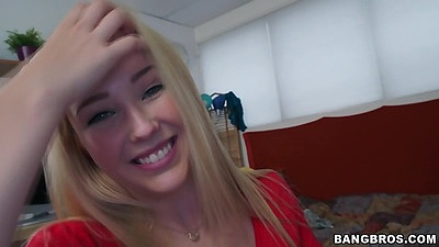 Cute college student teen Samantha Rone shows her boobs