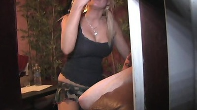 Voyeur spying on a blonde couple getting down with it