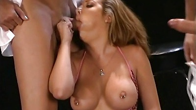 Threesome blowjob with Sophia and pulled aside panties cowgirl