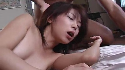 Asian small boobies and very hairy pussy sex