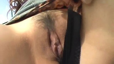 Hairy pussy asian posing her body outdoors solo