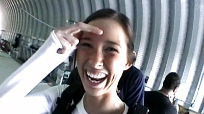 Going sky diving with happy teen Brooke Skye
