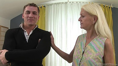 Blonde grandma Bianca T fully clothed ready to please