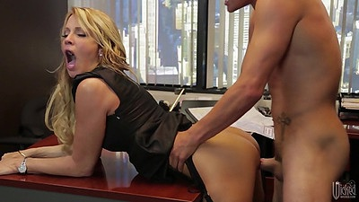 Standing fuck with stunning milf jessica drake over table