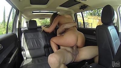 Back seat of a van hidden camera sex from Jenna Ashley