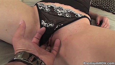 Fingering charming petite Mandy Hoove and cock sucking