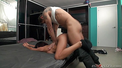 Doggy style petite fuck during casting session with Rachel Woods