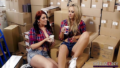 Luscious redhead and blonde lesbians Sophia Knight and Shay Hendrix