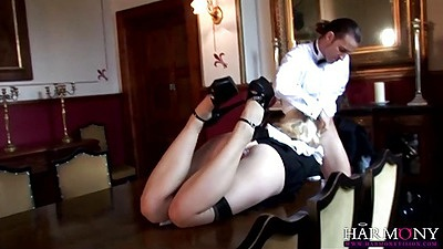 Rough sex blonde getting her maid mouth deep throated and toy inserted in ass
