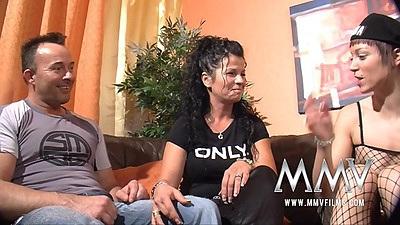 Gina and Martina Lo go down for some fellatio