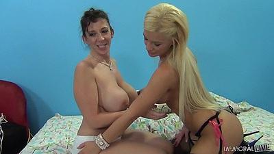 Ass licking and licking balls group fuck from Sara Jay and Bibi Noel