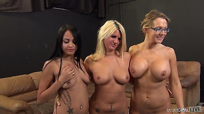 Different size tits girls in orgy Laela Pryce and Nikki Sexx and Kimberly Kendall