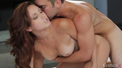 Doggy style with natural medium boobies delicious brunette fuck