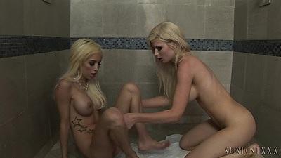 Girls Kenzie Marie and Morgan Layne engaged in lesbian fun in toilet