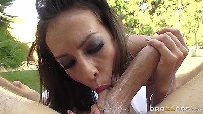 Sucking balls including a pulled aside panties anal sex outdoors Kelsi Monroe