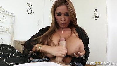 Blowjob of a huge dick with asian mom Kianna Dior
