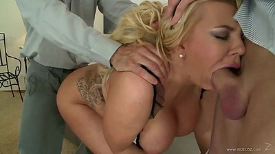 House cleaning and then cock cleaning hotel maid Tiffany Kingstone in threesome