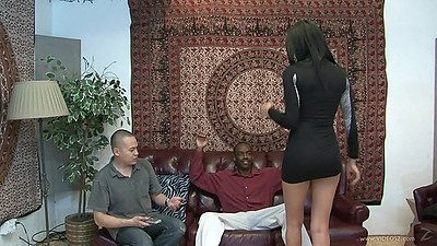 Skinny latina in a nice black dress sucks penis Kimberly Kendall